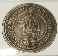 1671 Austria Taler Salzburg NGC XF 40