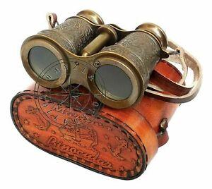 Vintage Engraved Brass Binocular Nautical Maritime Antique Leather Bag Christmas