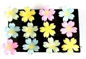 FLOWER COLORFUL BIG Push Pins - Set Of 12 Handmade Decorative Office Memo Board