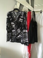 MIXIT Black Grey White Long Sleeve Stretch Top Jacket Jumper + Camisole 16 14