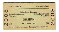 Railway Ticket ~ BR(S) 2nd Single - Gillingham (Kent) to Chatham - 1969