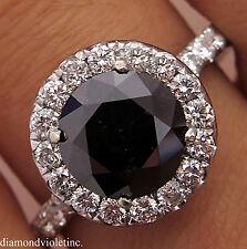 3.00CT ESTATE VINTAGE ROUND BLACK DIAMOND ENGAGEMENT WEDDING RING 18KWG EGL USA