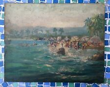 Vintage Antique Painting Beach Scene Hawaii Florida Mexico Signed Naive Folk Art