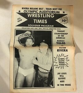 Vintage NWA Wrestling Program Aug 1973 Olympic Auditorium Tolos Blassie Champion