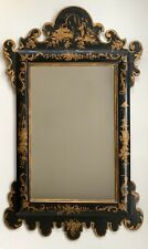 Large Early/Mid 20th Century Black and Gold Chinoiserie Wall Mirror