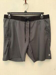 Hurley Phantom Beach Trunks, Workout Shorts, Mens XL, Gray, Black Trim, Pockets