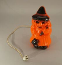 "Original Vintage Halloween Table Top Blow Mold Witch 9 1/2"" Tall Works!"