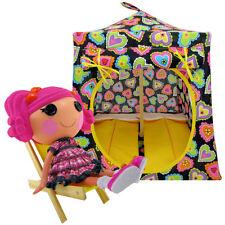 Black, heart print fabric, Toy Play Camping Doll Tent, 2 Sleeping Bags, handmade