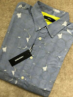 "DIESEL MEN'S BLUE ""S-OMNI"" PATTERNED SLIM FIT L/S SHIRT TOP - SMALL - NEW & TAGS"
