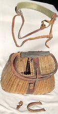 Original Vintage Fisherman Wicker And Leather Fishing Creel