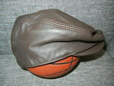 WILSON LEATHER Brown LEATHER CABBIE HAT Newsboy Golf Course Cap Sz S/M New! Nwt