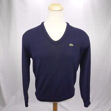 Izod Lacoste mens Large sweater vintage 60's navy blue v-neck free shipping! c8