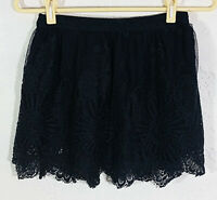 Forever 21 Juniors Skirt Small Floral Lace Black Mini Elastic Waist ALine Summer