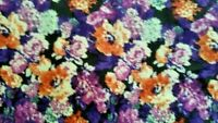 PURPLE AND ORANGE FLORAL COTTON BLEND; 2 1/3 YARD AT $2.95 YD.; TOTAL = $6.90