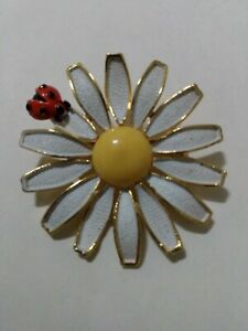 VINTAGE WEISS SUNFLOWER LADYBUG BROOCH PIN