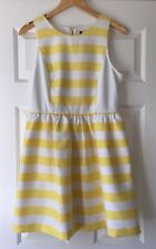 NEW Kensie Yellow White Striped Summer Dress Medium Retro Classy Flare Newport