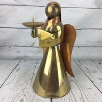 """Vintage Brass & Copper Angel Candleholder 9"""" Large Candlestick Christmas Boho"""
