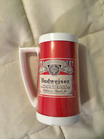 VINTAGE THERMO-SERV RED WHITE BUDWEISER PLASTIC BEER STEIN MUG CUP