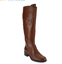 Isaac Mizrahi Live! Wide Calf Leather Riding Boots w/ Lace Detail Ocre Brown 6
