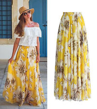 USA Chiffon BOHO Womens Floral Jersey Gypsy Long Maxi Full Skirt Beach Sun Dress