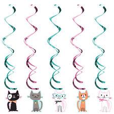 5 x Purrfect CAT Party Da Appendere a Vortice Decorazioni Festa di Compleanno Gatto Gattino Swirl