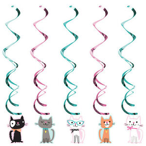 5 x Purrfect Cat Party Hanging Swirl Decorations cat Birthday Party Kitten swirl