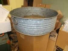 VGT GALVINIZED RIBBED TUB TWO HANDLE WASH DRAIN RARE FLOWER GARDEN UNIQUE ROUND