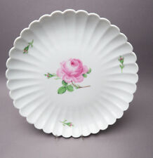 Meissen Wave Edge Red Rose Pastry Plate Pastry Plate Ca 27,5 cm Ø