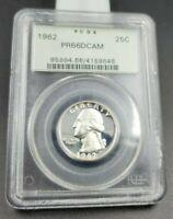1962 P 25C Washington Quarter Silver Coin Proof PCGS PR66 DCAM OGH Deep Cameo