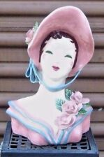 HEAD VASE headvase SUE by KAYE or  KIM large tall  hand DECORATED 10 1/2 inches