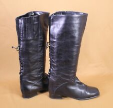17S Damen Stiefel Slouch Boots Leder schwarz Gr. 36,5 geschnürt Reiter Vintage