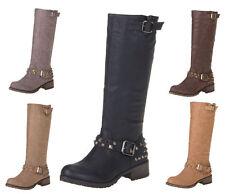 Markenlose Damenschuhe mit Blockabsatz im Kniehohe Stiefel-Stil