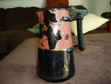 BEAUTIFUL ANTIQUE DISPLAY PITCHER/ UNUSUAL COLOR COMBINATION/ GOLD TRIM