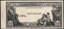 CANADA $20 1935 THE CANADIAN BANK OF COMMERCE FACE DIE ESSAY WL6925