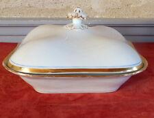 legumier 19 eme porcelaine de Paris blanc et or filet bleu ancien (1)