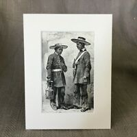 1890 Antique Print Mexican Night Watchmen Serenos Mexico Old Victorian Art