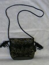 BLACK & GOLD BEADED EVENING PURSE WITH MAGNETIC CLOSE