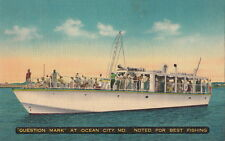 Postcard Boat Question Mark Ocean City MD Noted for Best Fishing