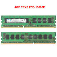 For Samsung 4GB 2RX8 PC3-10600E DDR3-10600MHz 1.5V 240Pin ECC UDIMM Memory RAM