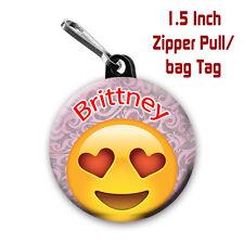 Emoji Zipper Pulls Two Personalized 1.5 Inch Zipper Pull/Bag Tags Love Emoji