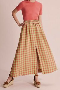 COUNTRY ROAD LINEN CHECK MAXI SKIRT  RRP$179 size 12