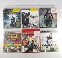 PS3 Lot Of 6:Batman, South Park,Darksiders,Dead Island,Madden 15 UnTested