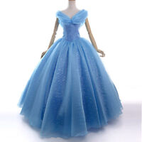 Deluxe Princess Cinderella fancy Dress Cosplay Costume Adult Prom Ball Gown blue