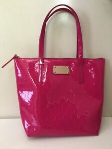 Kate Spade Hot Pink Patent Leather Dot Embossed Tote Handbag