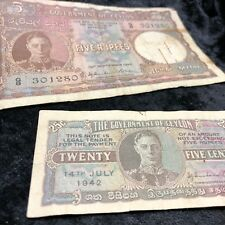 Government of Ceylon 1941 Second Issue 1942 Five 5 Rupees Note Banknote 25 cents