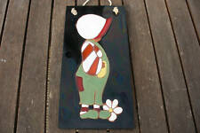 tableau Déco vintage personnage émail sur terre cuite
