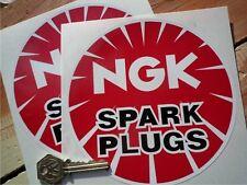 "NGK SPARK PLUGS Plain Round Classic Car STICKERS 6"" Pair Race Racing Bike Rally"