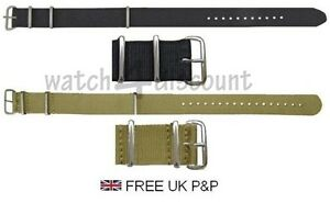 Quality Nylon N.A.T.O. Watch Straps In 2 Colours - FREE P&P