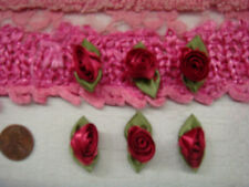 12 Persian red ribbon rose flower applique 1 1/4 doll SHIP FROM USA
