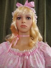 Sissy Dress Pink Kitten Cat Cupcake Print L XL Gown Nightie Lingerie Costume